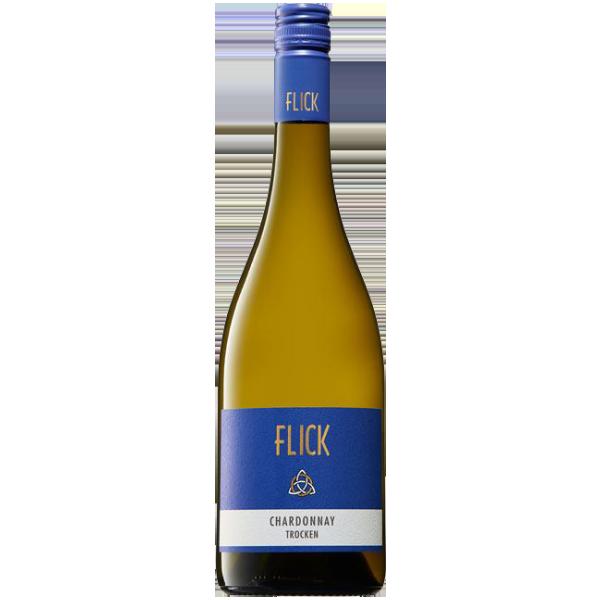 Weinflasche von einem Weisswein gefüllt mit Chardonnay aus Rheinhessen burgunderflasche